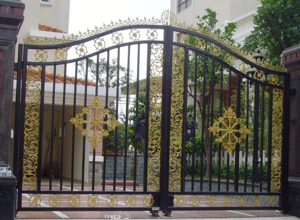 Low price pedestrian swing arm gates double fence