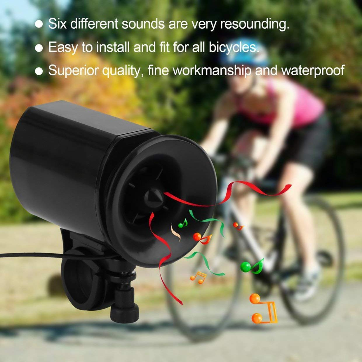 Qewmsg 6 Sounds Ultra-Loud Bicycle Bike Electronic Bell Horn Strong Sound Horn
