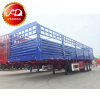 China Manufacturer Livestock Tri Axle Fence Cargo Flatbed Trailer For Sale