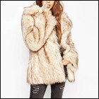 Custom Material Women Winter Golden Yellow Faux Rabbit Fur Coat