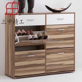 High Quality 4 Door Wood Corner Shoe Cabinet