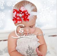 Christmas bow feather headdress hair band festival baby baby headbands wholesale explosion source