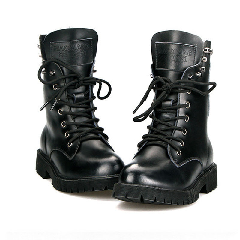 6ea80ca8463 Get Quotations · British Style Vintage Motorcycle Martin Boots Mid-Calf  Lace-Up Punk Boots Round Toe