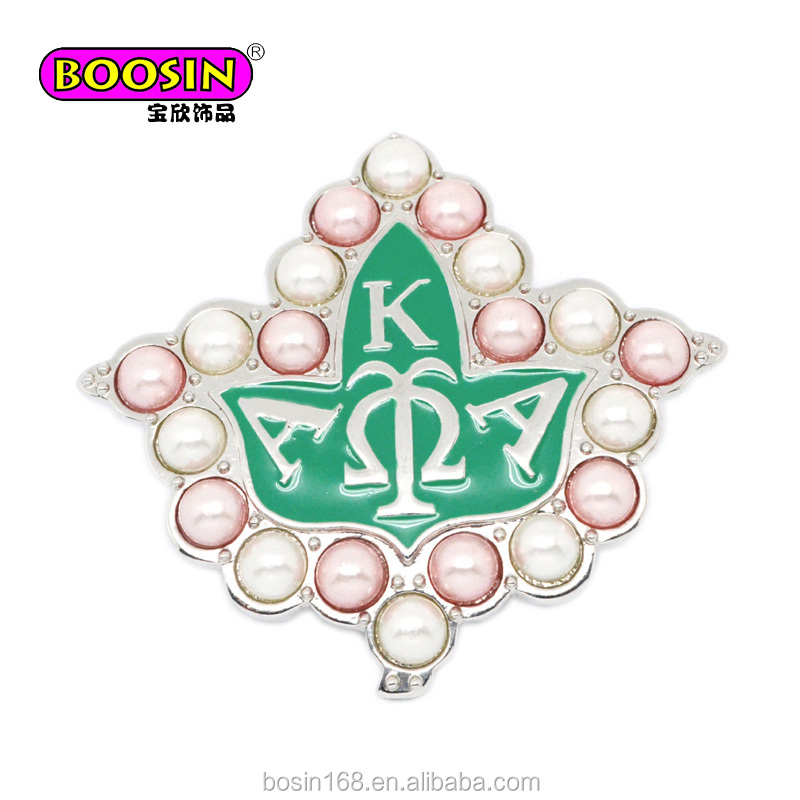 Dazzing custom Enamel Leaf Sorority Aka pearl pin brooch manufacturer Guangzhou fashion jewelry