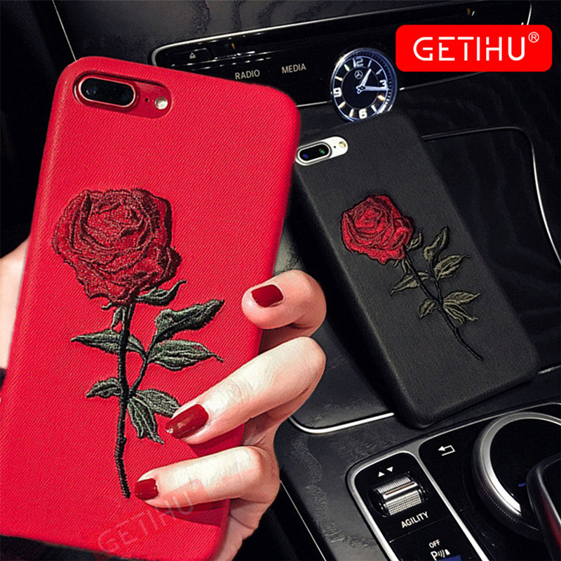 sale retailer 11aa3 5ecda GETIHU Embroidery Rose Iphone X XS 7 8 6 6S Plus Cover Coque For Iphone 7 6  8 Case 360 Degree For Iphone XS Cases