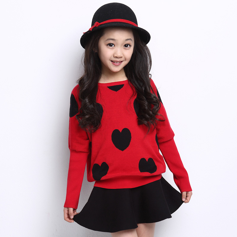 sweater with dress 2015 children kids girls Sweaters coat Autumn winter  Fashion Pullovers knit kids clothing