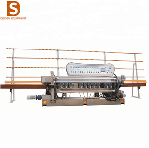 Factory price 11 grinding head/motors glass straight line edging/ beveling machine