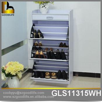 Modern Glossy Triple Tilt Open Doors Shoe Cabinet With Mirror On Sale