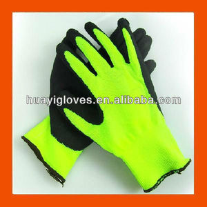 Fluorescent Green Safety Working Gloves with Foam Latex Coated HYA45