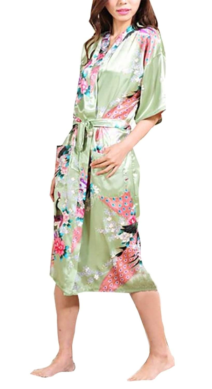 Get Quotations · Generic Women's Summer Sexy Plus Size Floral Print Wrap  Front Satin Kimono Robes Sexy Nights Short