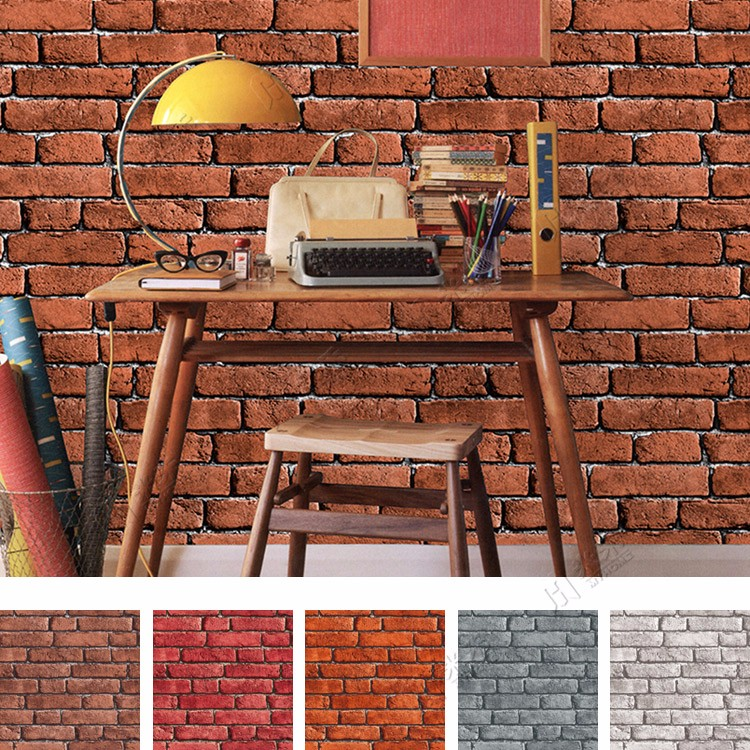 Cheap Imitation Vinyl Bricks Stone Design Wall Paper Wholesale Decorative PVC 3d Brick Wallpaper