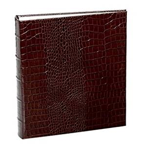 Standard 3-ring Croco-Brown Fine European leather binder unfilled by Graphic Image™ - 8.5x11