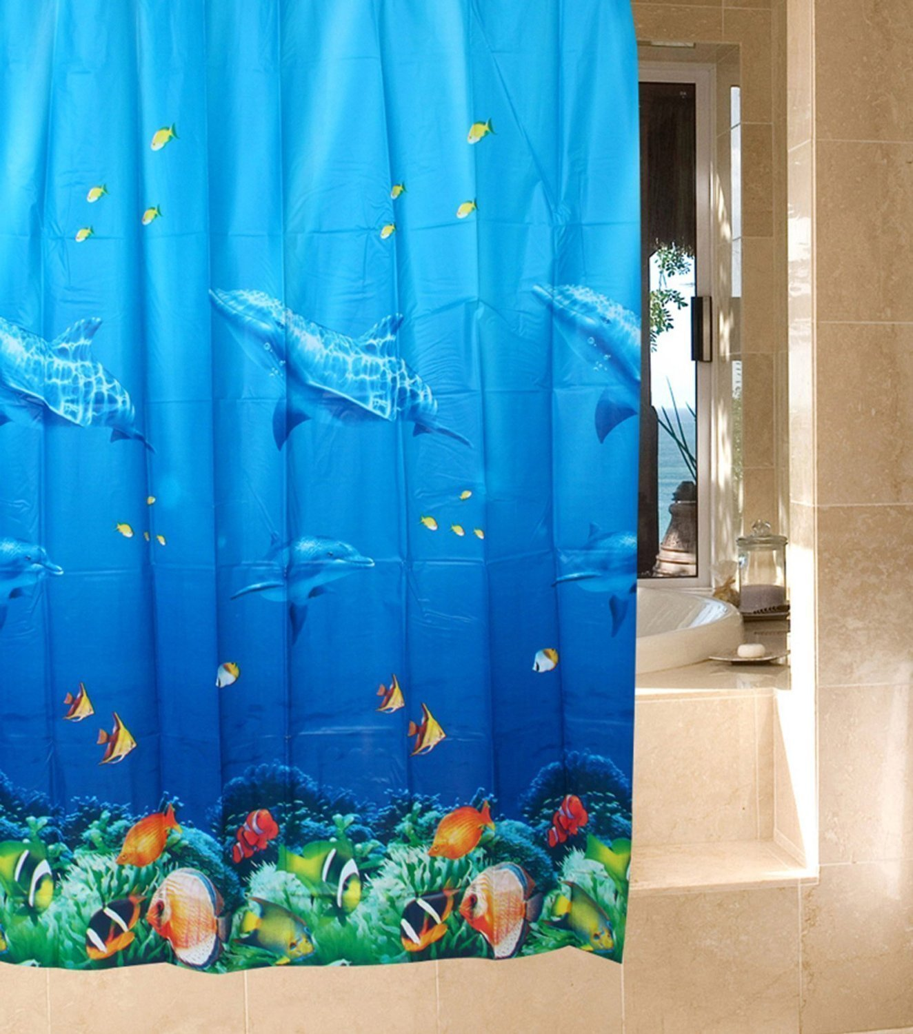 Get Quotations Multicolor Dolphin Pattern Tropical Fish Coral Ocean Theme Bath Shower Curtain With 12 Hooks