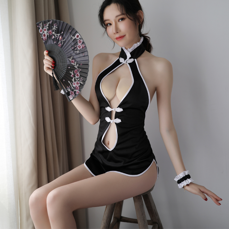 Erotic Open V neck Exotic Cheongsam Qipao Dress Midnight Roleplay cosplay sexy lingerie costume