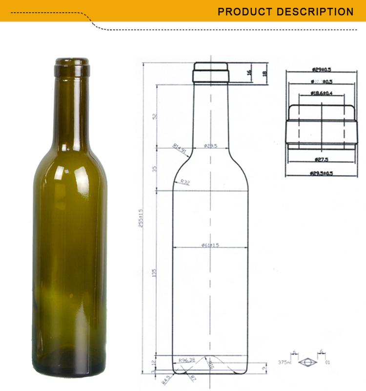 Marque 375 ml rouge en vrac de verre bouteilles de vin bouteilles id de produit 60615050772 - Diametre bouteille de vin ...