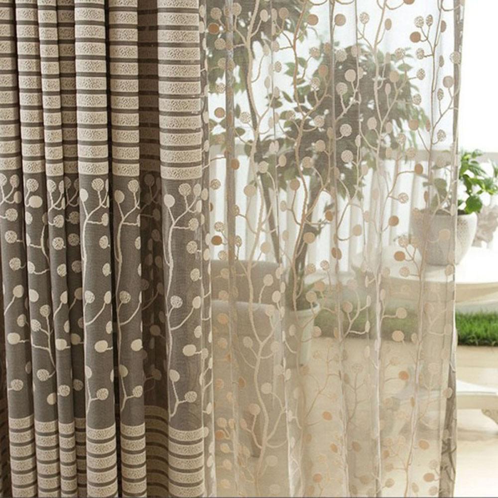 Delightful 1 Pair Jacquard Flower Pattern Net Curtains For Window Elegant Living Room  The Sun Shading