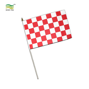 High Quality Polyester Hand held White Red Checkered Custom Stick Flags