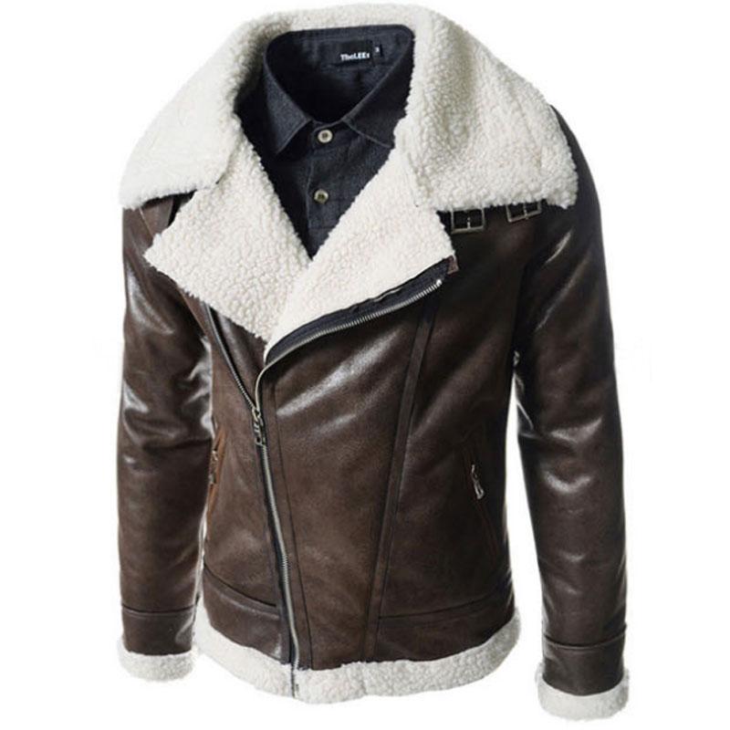 d3db6f2b5a21 Leather Jacket Fur Hood Men Shearling Collar Motorcycle .