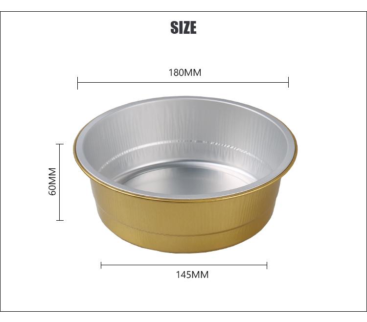 disposable colorful 1200ML round aluminium foil cake container