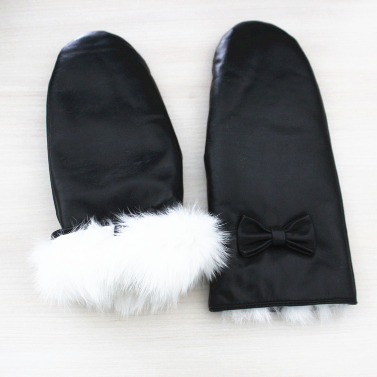 Rabbit fur lined winter leather gloves women mitten glove genuine fur leather gloves
