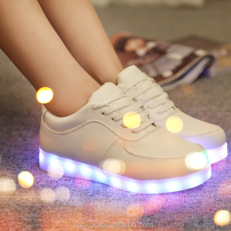 New 2016 New Style Colorful LED Shoes Men LED Light Sneaker USB Rechargeable Glow In The Darkness Flashing LED Light Up Sneaker