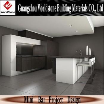 White Modern Home Mini Bar Counter Design For Sale Black Top