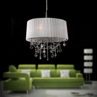 White Drum Lamp Shade Modern Crystal Chandeliers Pendant Lights