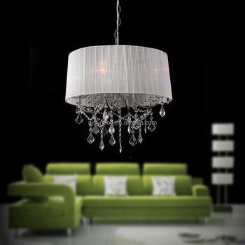 Weißen Trommel Lampenschirm Moderne Kristall Kronleuchter Pendelleuchten
