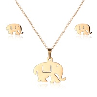 Fine Gold Stainless Steel Animal Cute Elephant Pendant Jewelry Set