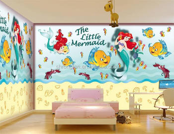 Gentil Kids Baby Room Wallpaper Custom Photo Mural Non Woven Wall Sticker Ariel  Little Mermaid Painting