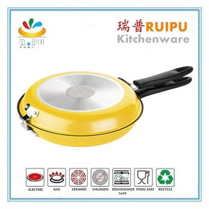 26cm Smokeless aluminum pressed round double cooking fry pan with double handle