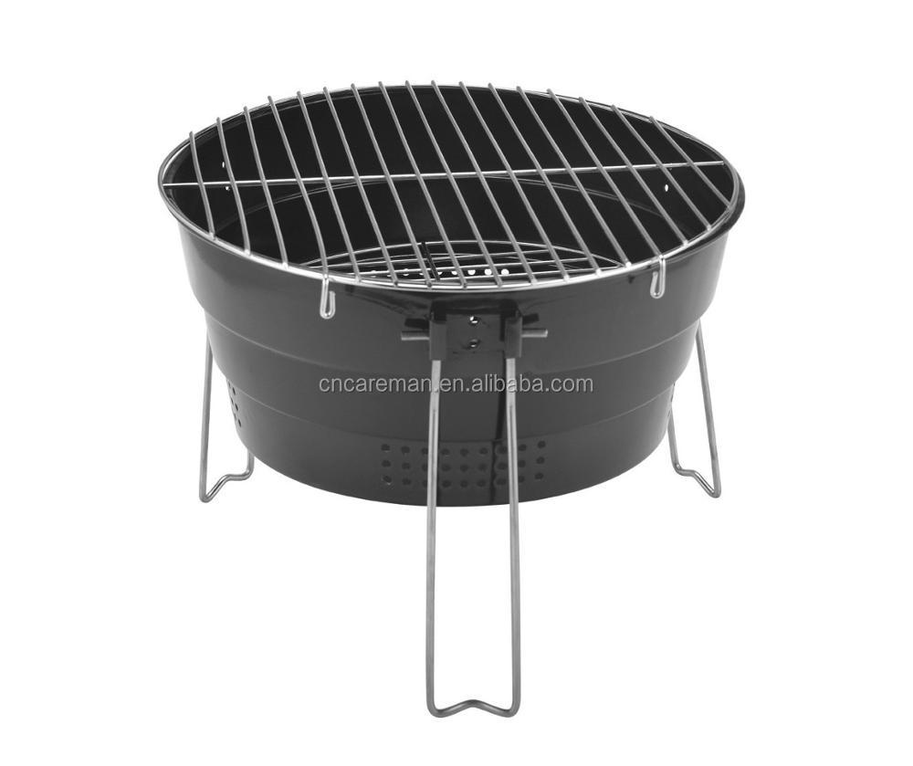 Folding Round Shaped Iron Charcoal Barbecue Grill, Table Top Round BBQ Grill  With 3 Wire