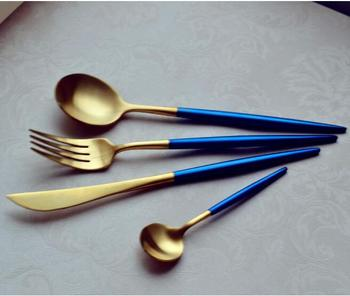 Cutlery With Pvd Coating Blue Handle Flatware Stainless Steel