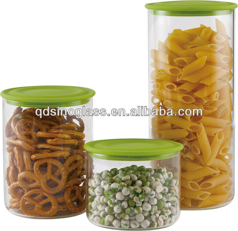 Sinoglass Air Tight Borosilicate Glass Storage Jars With Silicone Lids