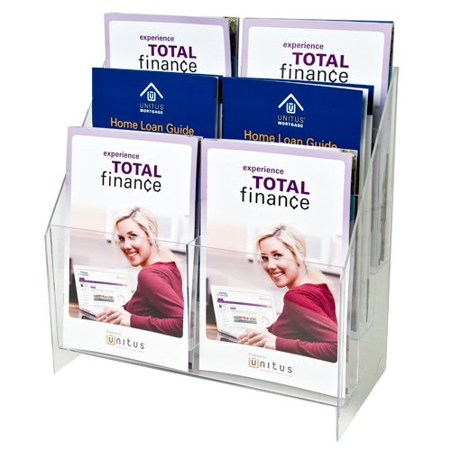 Clear-Ad - MPF-5585-6 - Premium Acrylic 3 Tier 6 Pockets Brochure Holder 5.5x8.5 - Transparent Plastic Pamphlet Display Stand (Pack of 1)