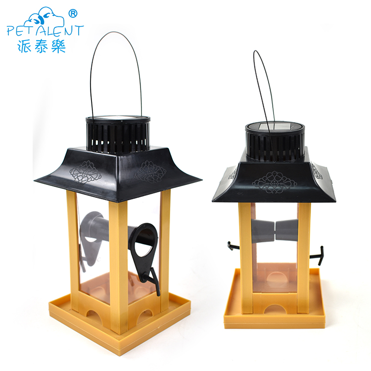hot selling garden wooden bird feeder with solar light