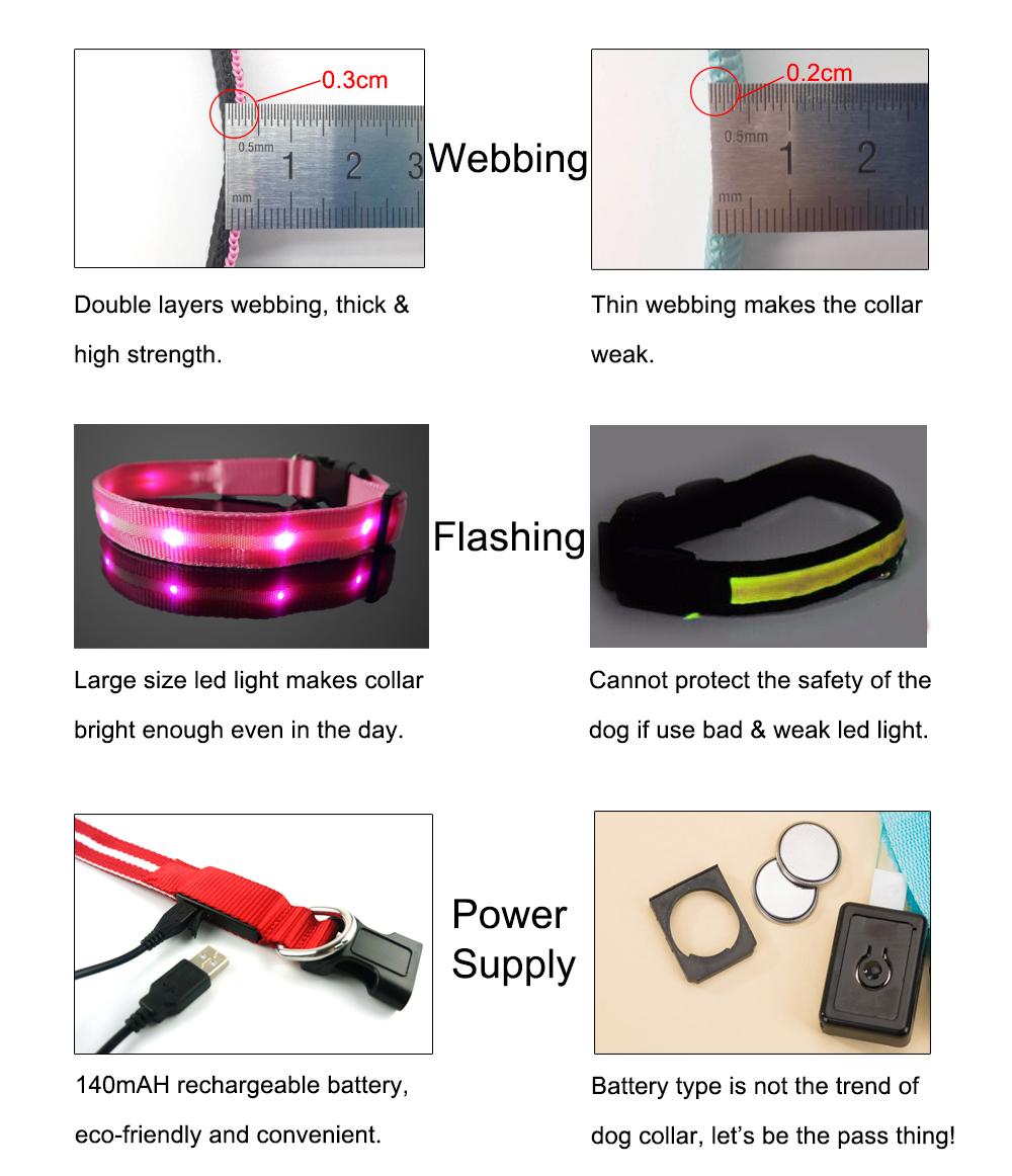 2019 del Commercio All'ingrosso Del Cane di Disegno Germania USB Cintura Cane LED Collare di Cane Ricaricabile TZ-PET6100U Light Up Collari