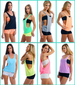 Guangzhou factory 100 cotton tank top wholesale plain open side tank top women