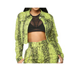 New Fashion Women Long Sleeve Snakeskin Leather Crop Jacket