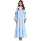 Zakiyyah 7609 Western stylish Muslim light blue Crinkle sleeve loose Abaya with floral design