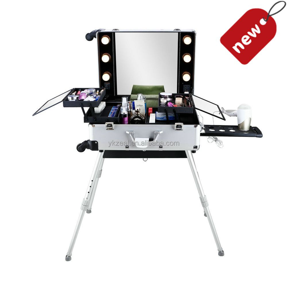 Hot selling universal wheel professional makeup case with light