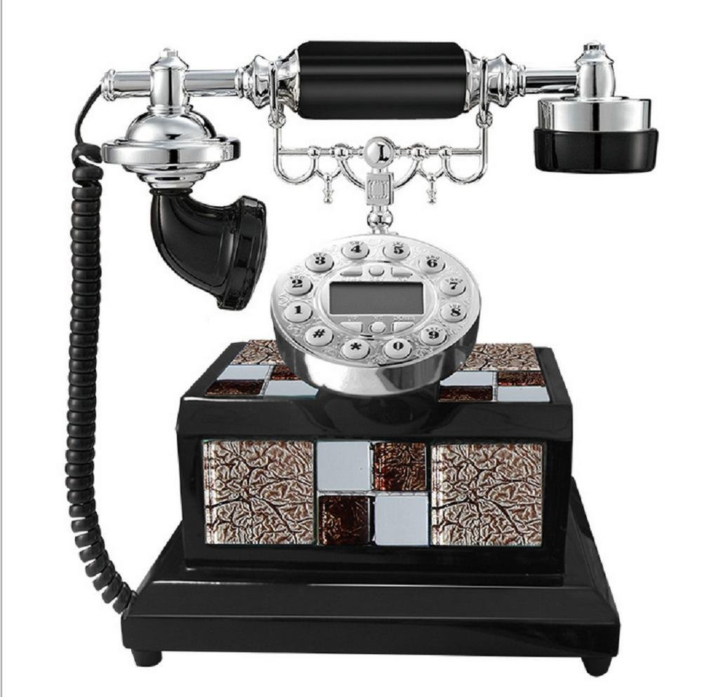 Continental Creative Antique Telephone Retro Vintage Antique Style Push Button Dial Desk Telephone Phone Home Living Room Decor , Black