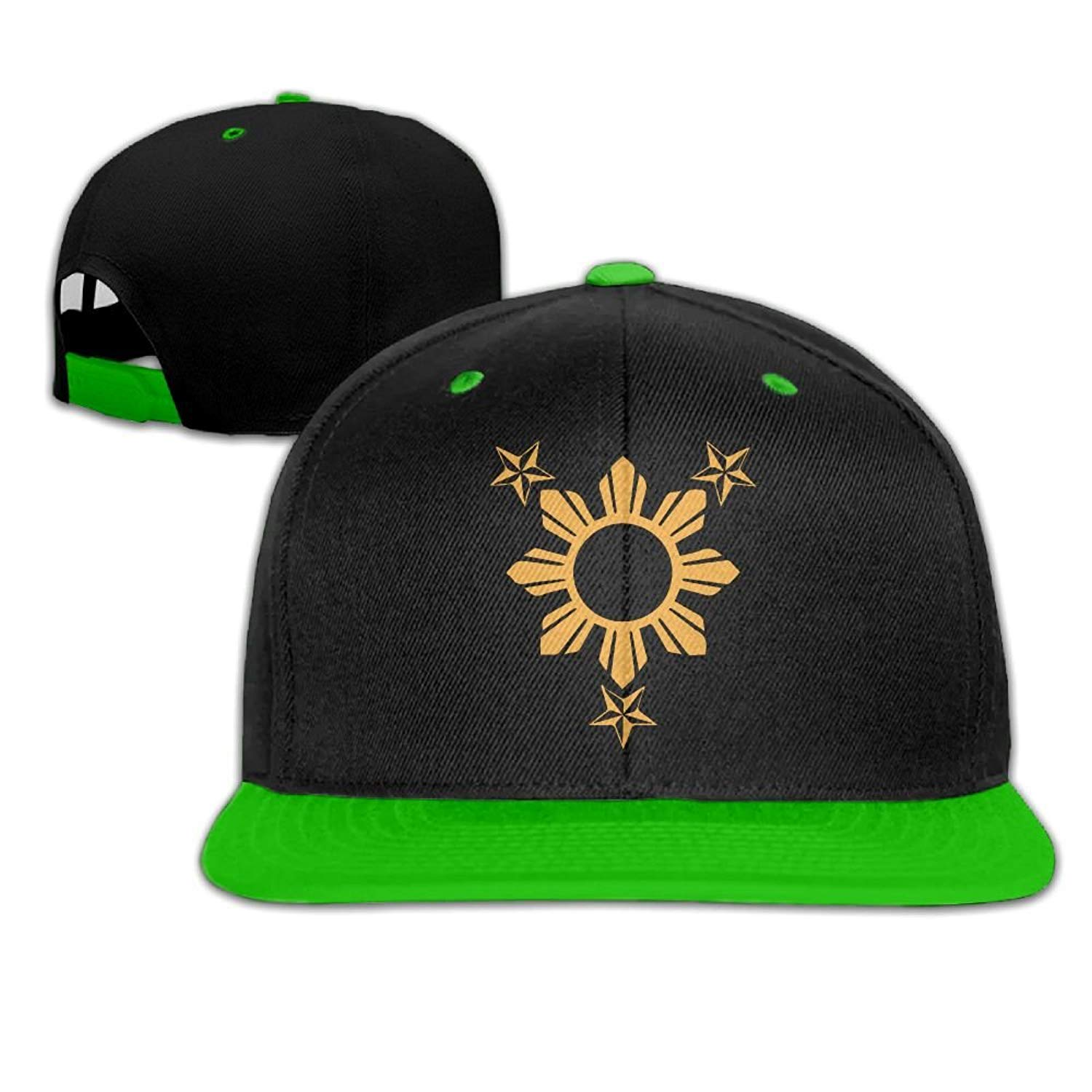 285a0dd4f53 3 Stars and Sun Filipino Philippines Flag Unisex Hiphop Flat Brim Snapback  Hats Contrast Color Baseball