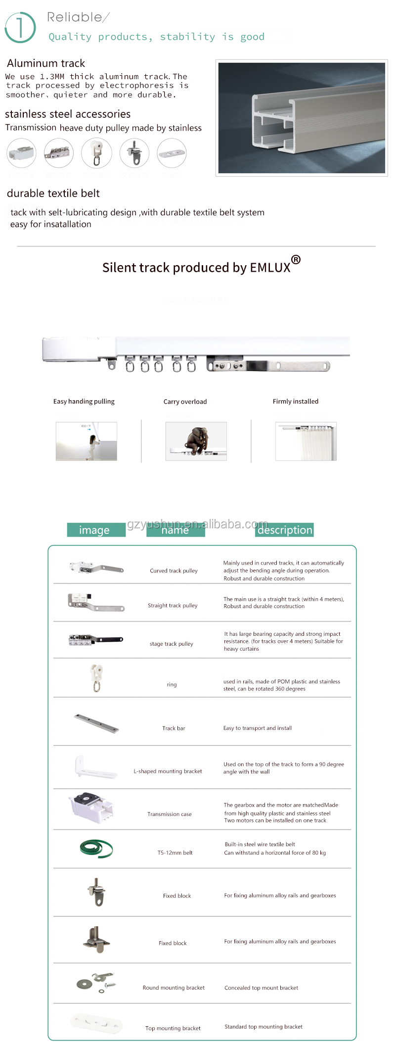 Yghocs Electronic Curtain Track And Curtain Motor With App