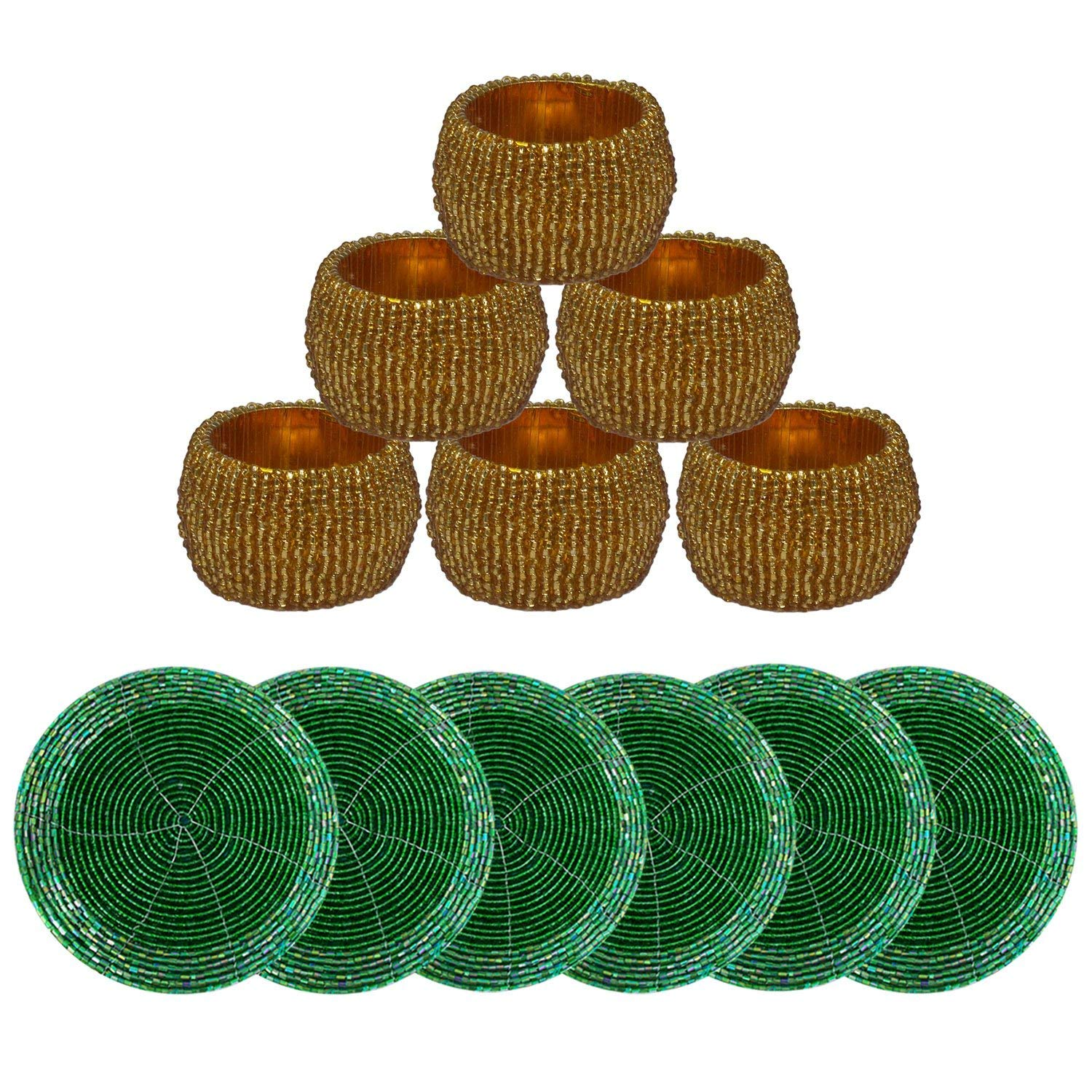 Indian Handmade Set of 6 Green Beaded Placemat Cup Coaster and 6 Golden Napkin Rings - Dining Accessories