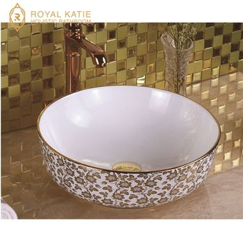 Customized New design bathroom commercial wash hand small ceramic electroplated basin