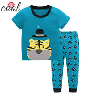 Wholesale soft cotton kids casual winter pajamas short high quality clothing set
