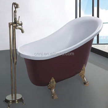 Golden Mosaic Decorated Acrylic Classic Bathtub (620A 2)