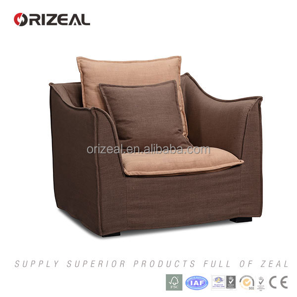 Classical fabric sectional sofa with armrest living room fabric Sofa Luxury furniture office classical one seat lounge