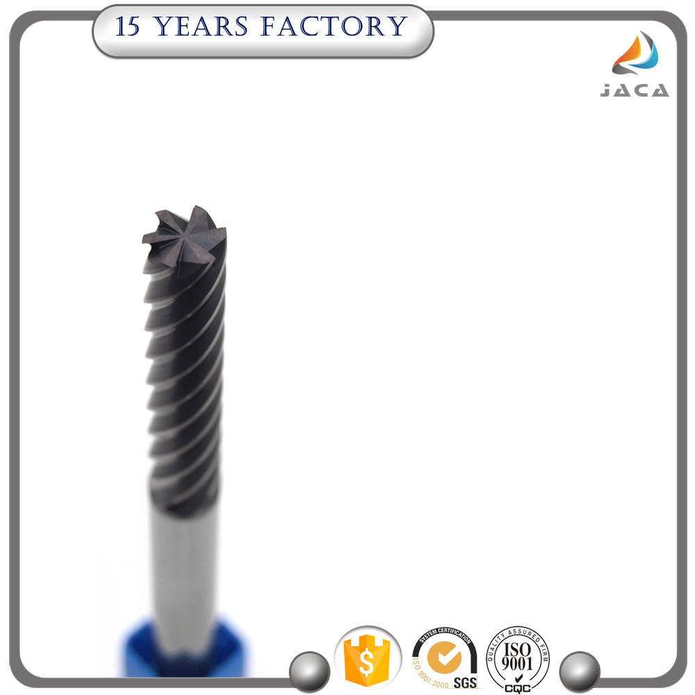 Top quality 6 flutes square carbide end mill cutting tool with coating